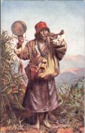 LAMA Beggar Priest Of TIBET Color Tibet Ungelaufen Tucks Postcars Oilette - Tibet