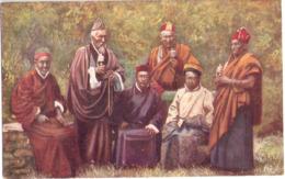 Group Of LAMA Priest Of TIBET Color Tibet Buddhism  Ungelaufen Tucks Postcars Oilette - Tibet