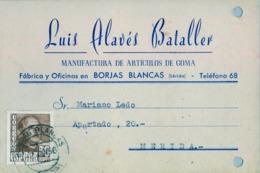 1956 , LÉRIDA , TARJETA POSTAL COMERCIAL CIRCULADA ENTRE BORJAS BLANCAS Y MÉRIDA - 1931-Hoy: 2ª República - ... Juan Carlos I