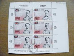 Proof Printing 6 Post Stamps Sharjah Soccer Football Gb Champions Of Sport Player Stanley Mattews - Schardscha