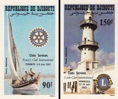 IMPERF. Djibouti 1983 - Club Services Rotary Club International: Michel 372-373; Yvert 188-189. - Djibouti (1977-...)