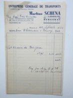 TRANSPORTS Martino SCHENA à BERGERAC Quartier Valette (24) Facture Du 22/09/1955 - Transport