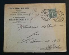 Maine Et Loire.Enveloppe Avec Cachet De Angers - Marcophilie (Lettres)