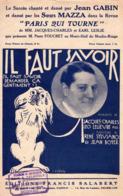 PARTITION IL FAUT SAVOIR - JEAN GABIN - DESSIN DE VALERIO - 1928 - EXC ETAT - - Other