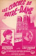 PARTITION LES CLOCHES DE NOTRE DAME (DE PARIS) - LEO FERRE / CATHERINE SAUVAGE - 1952 - EXC ETAT - - Other