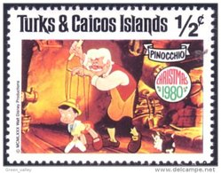 886 Turks Caicos Disney Pinocchio Geppetto Cat Chat Katz Figaro MNH ** Neuf SC (TUK-61e) - Cinéma
