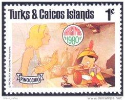 886 Turks Caicos Disney Pinocchio Noel Christmas Blue Fairy Jiminy Cricket MNH ** Neuf SC (TUK-62a) - Turks & Caicos (I. Turques Et Caïques)