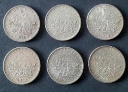 FRANCE - 5 Francs Argent 1960- 1961 - 1962 (X2) - 1963 - 1965  - Non Nettoyées - J. 5 Francs