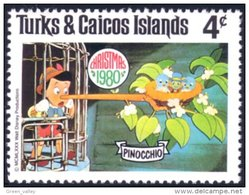 886 Turks Caicos Disney Pinocchio Jiminy Cricket MNH ** Neuf SC (TUK-65d) - Marionnetten