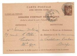 1944 - ENTIER -  CARTE POSTALE PETAIN 1f20 - DEMANDE D'EXTRAIT DE NAISSANCE -- WW2 -- Guerre 39-45 -- Pétain - Enteros Postales