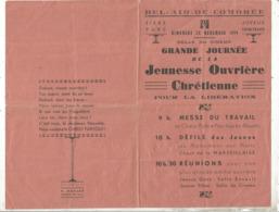 Programme, 49, BEL AIR DE COMBREE ,1944,journée De La Jeunesse Ouvrière Chrétienne Pour La Libération ,frais Fr 1.75 E - Programmes