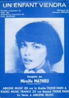 PARTITION UN ENFANT VIENDRA - MIREILLE MATHIEU - 1978 - TB ETAT - - Otros