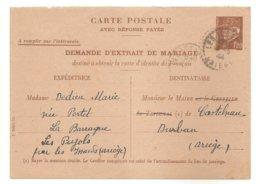 1944 - ENTIER -  CARTE POSTALE PETAIN 1f20 - DEMANDE D'EXTRAIT DE MARIAGE -- WW2 -- Guerre 39-45 -- Pétain - Ariége - Enteros Postales