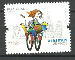 """Portugal  2012 25 Years Education Project """"Erasmus"""", Student On Bicycle Mi 3718, MNH(**) - Neufs"""