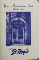 Hôtel St.Regis, New York 1952. Guide. - Dépliants Touristiques