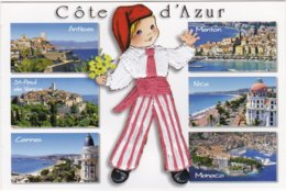 CARTE BRODEE:  COTE D'AZUR - Brodées