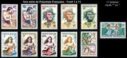 POLYNESIE 1958 - Yv. 1 à 11 NEUF   Cote= 37,00 EUR - 1ère Série De Polynésie  ..Réf.POL24290 - Polynésie Française