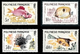 POLYNESIE 1962 - Yv. 18 19 20 21 **   Cote= 42,50 EUR - Poissons Holocentrus, Chaetodon, Pteropterus, …  ..Réf.POL24297 - Polynésie Française
