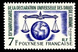POLYNESIE 1963 - Yv. 25 **   Cote= 15,70 EUR - Déclaration Des Droits De L'Homme  ..Réf.POL24300 - Polynésie Française