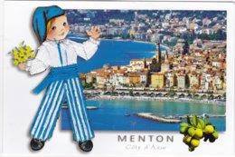 CARTE BRODEE:  MENTON, La Ville Et Le Port - Brodées