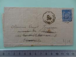 3 Convoyeur Ligne ALAIS (Gard) A VOGUE (Ardèche) Sur 15c Sage (abîmé) Du 20 Octobre 1880 - Poststempel (Briefe)