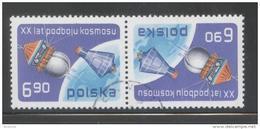 POLAND 1977 20 YEARS OF SPACE EXPLORATION TETE-BECHE USED Vostok Wostock Sputnik Mercury USA Russia ZSSR USSR - 1944-.... Republik