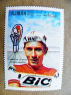 ERROR Proof Printing UAE AJMAN Sport Cycling Champions Of Sport Jacques Anquetil Bic Bicycle - Adschman