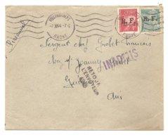 Timbres Pétain Et Mercure, Surgargé R.F.-Obli. 7.XI.1944 - Cachet Bleu: INADMIS-Cachet: Retour à L'envoyeur 4245 - WW2 - Liberation