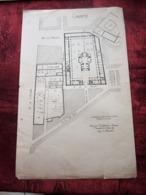 1871 PLAN TECHNIQUE DRESSÉ ARCHITECTE FOUCAULT DES HOSPICES HÔPITAL DE LA CHARITÉ MARSEILLE Planche Travaux Public - Travaux Publics
