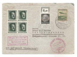 LETTRE 1937 - LUFSCHIFF HINDENBURG,1 MAI 1937 - Timbre ZIPPELIN + BLOC- Verso: Vignette Rouge - WW2 - Pas Connaisseur - Deutschland