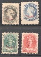 Scott #8, 10, 11 12  Senf Forgeries With Red «Specimen» - Nova Scotia