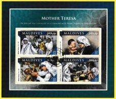 Bloc Feuillet Oblitéré De 4 Timbres-poste - Mère Teresa Mother Teresa - Maldives 2016 - Malediven (1965-...)