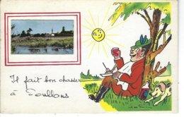 """85 - SOULLANS - ( VENDEE ) - T.B. Carte Fantaisie Avec Petite Photo """" Il Fait Bon Chasser à ..."""" - ( Illustrateur ) - Soullans"""