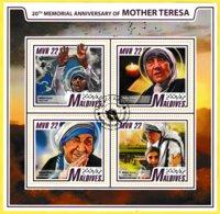 Bloc Feuillet Oblitéré De 4 Timbres-poste - 20ème Anniversaire De Mère Teresa - Maldives 2017 - Malediven (1965-...)