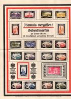 A4-Gedenkblatt, Geraubte Gebiete + Kolonien, Aufgeklebte Vignetten (80620) - Vignetten (Erinnophilie)