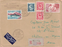 NOUVELLE CALEDONIE - LETTRE RECOMMANDEE DE NOUMEA POUR LA FRANCE - 20 MAI 1960 - CENTENAIRE DU TIMBRE EN Nlle CALEDONIE - Neukaledonien