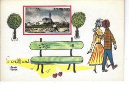 85 - SOULLANS - ( VENDEE ) - T.B. Carte Fantaisie Avec Petite Photo Animée ( Eglise - Amoureux - Banc ) De Claude Venier - Soullans