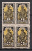 Haute-Volta - 1928 - N°Yv. 45 - 4c Noir Et Jaune - Bloc De 4 - Neuf Luxe ** / MNH / Postfrisch - Upper Volta (1920-1932)