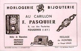 Buvard Au Carillon F. Pasquier 8 R Feuteries Fougères (35) - P