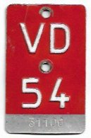 Velonummer Waadt VD 54 - Plaques D'immatriculation