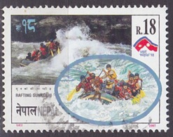 Timbre Oblitéré N° 612(Yvert) Népal 1997 - Tourisme, Rafting - Nepal