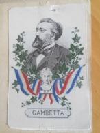 """Magnifique Et Rare """"Souvenir De L'exposition 1878"""" Portrait Tissé Soie De Gambetta Sur Support Cartonné - Alte Papiere"""