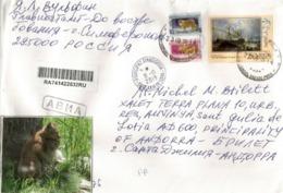 Le Lynx De Sibérie, Sur Lettre Recommandée De Russie, Adressée Andorra, Avec Timbre à Date Arrivée - Big Cats (cats Of Prey)
