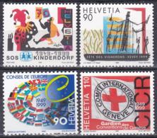 Schweiz Switzerland Helvetia 1999 SOS-Kinderdorf Weinbau Winzerfest Europarat Flaggen Flags Rotes Kreuz, Mi. 1686-9 ** - Schweiz
