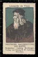 Old German Poster Stamp Cinderella Vignette Erinoffilo Reklamemarke Leonardo Da Vinci Italian Polymath. - Persönlichkeiten