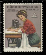 Old German Poster Stamp Cinderella Vignette Erinoffilo Reklamemarke Sewing, Nähen, Sewing Machine. - Vignetten (Erinnophilie)