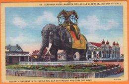 """CPSM De ATLANTIC CITY N.J. """" Eléphant Hotel Margate City An Old Landmark """"  Affranchie Avec 3 Timbres Le 17 Juillet 1947 - Atlantic City"""