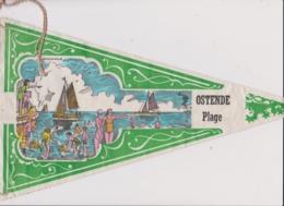Ancien Fanion Touristique Belgique OSTENDE PLAGE  (vintage Années 60) Scan En 2 Parties Du Fait De La Longueur - Obj. 'Herinnering Van'