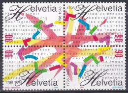 Schweiz Switzerland Helvetia 1998 Geschichte History Staatswesen Bundesstaat Federal Helvetische Republik, Mi. 1633-6 ** - Schweiz