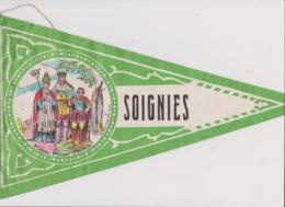 Ancien Fanion Touristique Belgique SOIGNIES  (vintage Années 60) Scan En 2 Parties Du Fait De La Longueur - Recordatorios